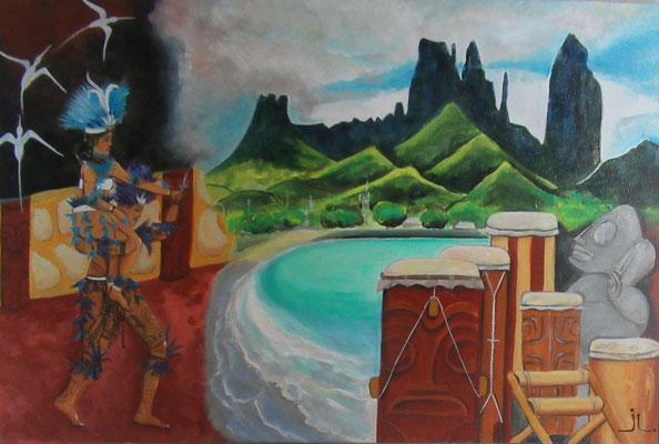 N°21 Ua Pou (Mata Ava 2019) 40x60 Acrylique sur toile
