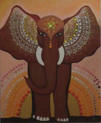 N°30 Léléphant Maharani 73x60 Mixte sur toile