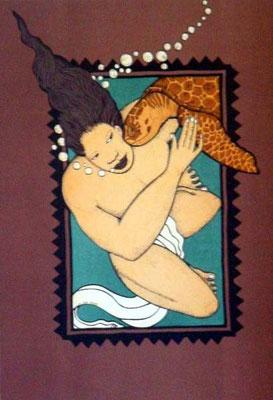 Le baiser de la tortue - 60 x 45
