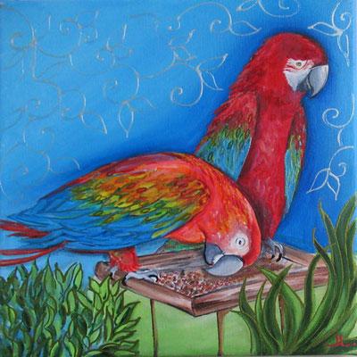 N°18 Perruches rouges 30x30 Mixte/toile Vendu
