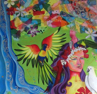 N°19 Vahine aux perroquets 100x100 Mixte/toile Vendu