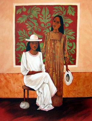 Deux femmes au chapeau - 60 x 45
