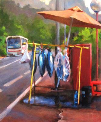 N°291 Te tau tai (la pêche) 46x38 Huile sur toile
