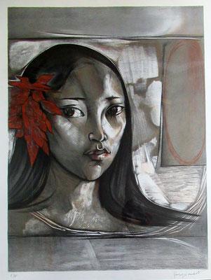 N°61 Vahine à la fleur Lithographie EA 88X63