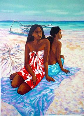 N°52 Deux femme sur la plage Lithographie 80X64