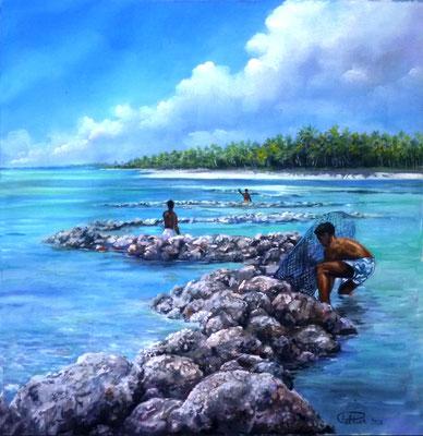 N°17 Parc à poissons des Tuamotu 44x42 Huile sur toile