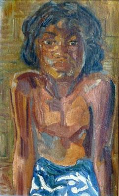 GOUWE Portrait au pareo bleu HST 45x28