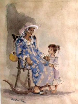 N°81 Mama ruau e te mau mootua 1993 Estampe rehaussée à l'aquarelle 4/100 41X32