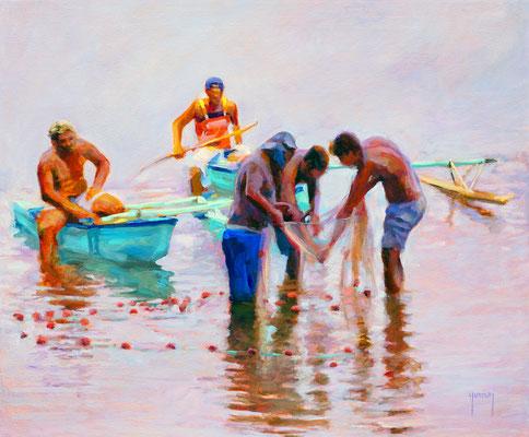N°326 Te tautai upea (pêche au filet) 38x46 Huile sur toile