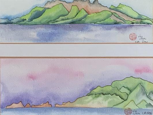 N°16 Double paysage de Ua Pou 11x31 (2) Aquarelle