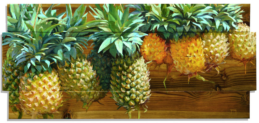 "N°311 ""Tui"" d'ananas 56x113 Huile sur bois"