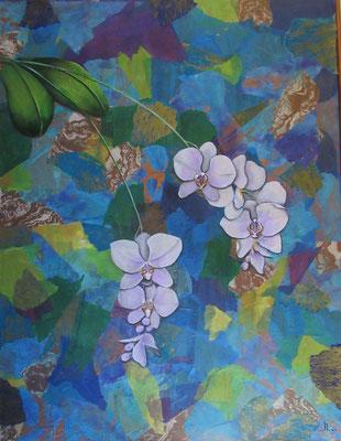 N°6 L'orchidée blanche 93x72 Mixte sur toile