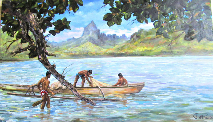 N°32 Pêcheur à Pao Pao 33x55 Huile sur toile