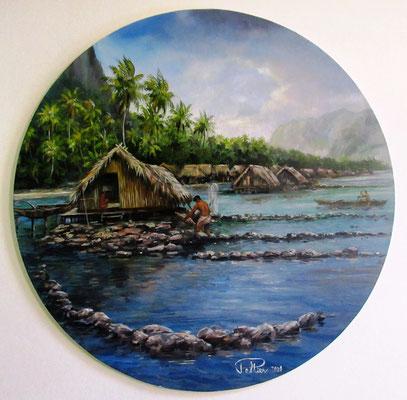 N°8 Parc à poissons de Huahine O40 Huile sur carton