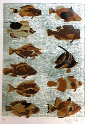 N°87 Les poissons 2008 Estampe sur linoléum aquarellée 2/30 41X30