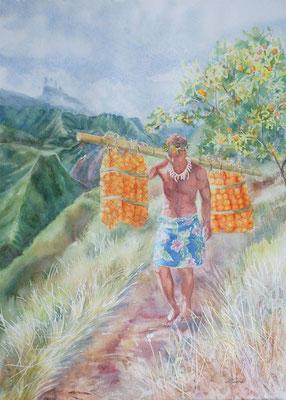 Touzé Le porteur d'oranges 51x36 Aquarelle