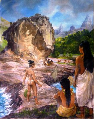 N°11 Scène de vie à Ua Pou 62x49 Huile sur toile