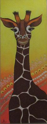 N°28 La girafe Gertrude 80x30 Mixte sur toile
