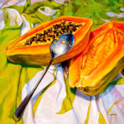 N°306 Graines de papaye 40x40 Huile sur toile