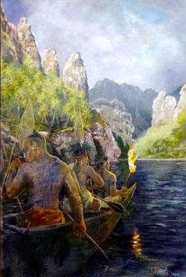 N°15 Pêche au flambeau, à Fatu Hiva 74x49 Huile sur toile