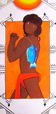 Luria Heifara e tana i'a 84x40 Acrylique sur toile