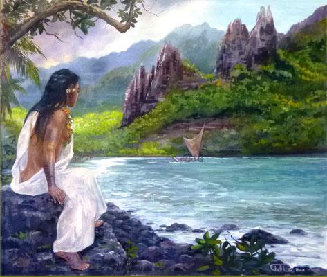 N°22 Pirogue à voile à Nuku Hiva 40,5x34 Huile sur toile