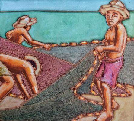 N°25 La pêche au filet 69x78 HST Vendu