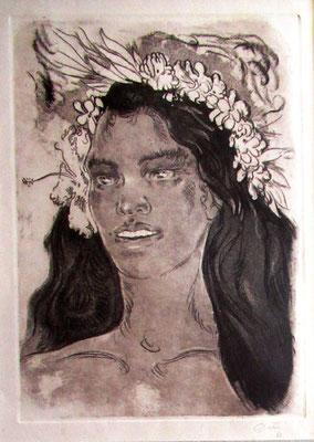 N°39 Tahitienne à la couronne de fleurs 1962 Aquatinte 37,5X27,5