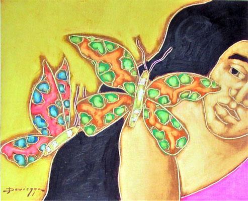 Devienne L'envol des papillons 45x54,5 Huile sur toile