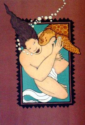 Le baiser de la tortue 60x45 Lithographie