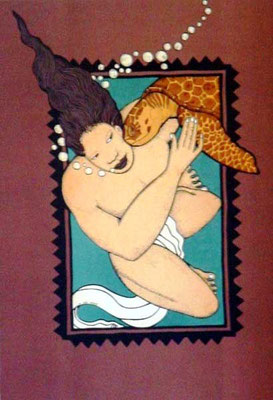 Le baiser de la tortue 60x45 Lithographie 250 ex
