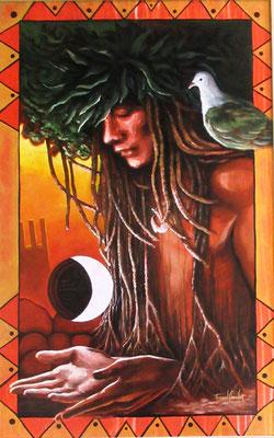 Chaussoy E L'envoyé des dieux 95x60 Acrylique sur toile