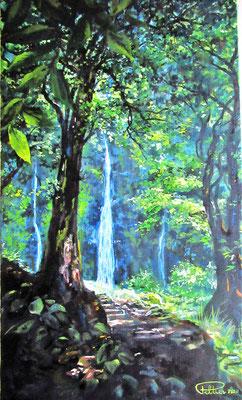 N°34 Aux trois cascades 46x27 Huile sur toile