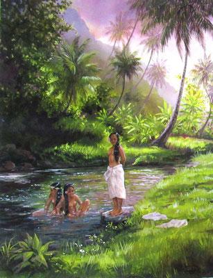 N°14 Baignade à Fatu Hiva 57x44 Huile sur toile