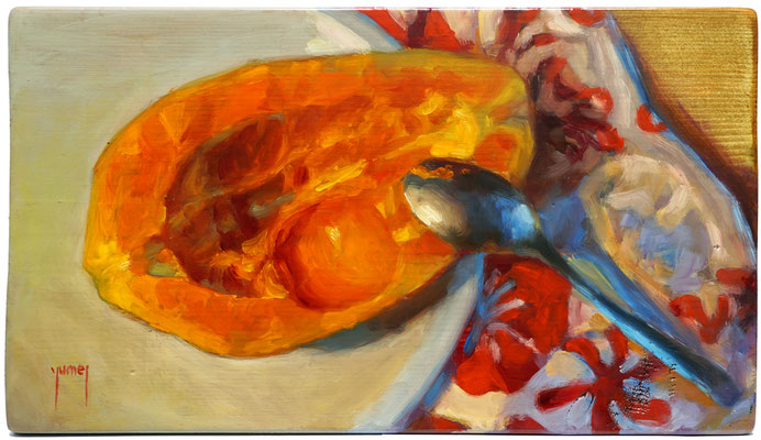 N°334 Le gout de la papaye 18,5x32 Huile sur bois