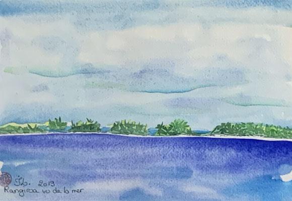 N°20 Rangiroa (vue de la mer) 18x26 Aquarelle