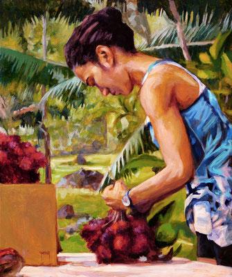 N°309 La vendeuse de ramboutans 55x46 Huile sur toile