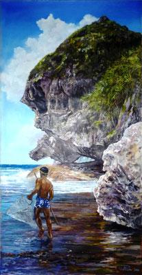 """N°20 Pêcheur au """"tautau"""" à Rurutu 100x51 Huile sur toile"""