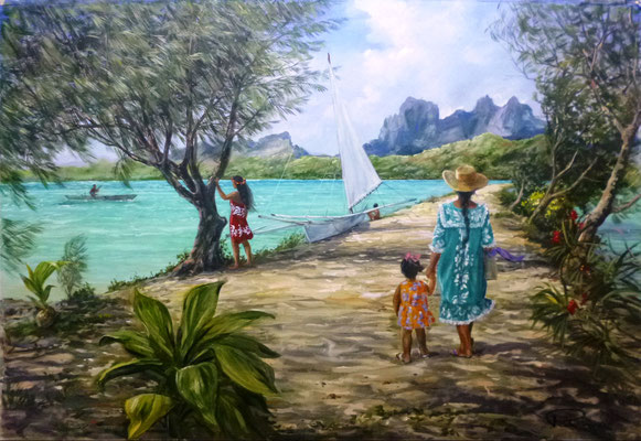 N°29 Promenade à Bora Bora au motu 47x69 Huile sur carton