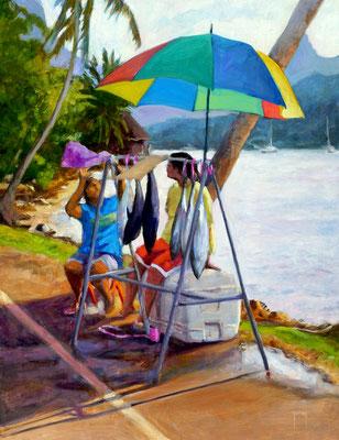 N°289 Après midi dans la baie de Pao Pao 65x50 Huile sur toile