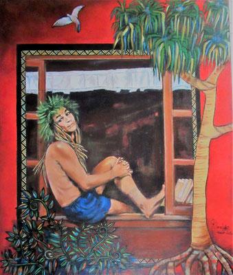 Klod A la fenêtre des rêves 64x54 Acrylique sur toile