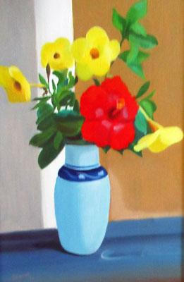 N°20 Vase bleu fleuri N°819 HST 35X24
