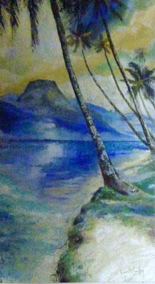 N°19 Le cocotier bleu 67x36 AST Vendu