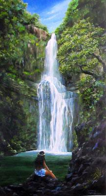 N°10 Jeune fille à la cascade 76x41 HST