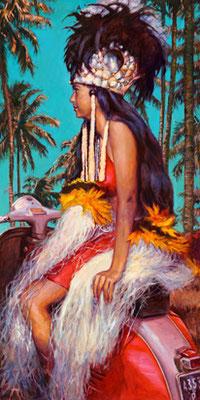 N°392 Tahiti Vintage 2021 Huile sur toile 120x60   240 000F