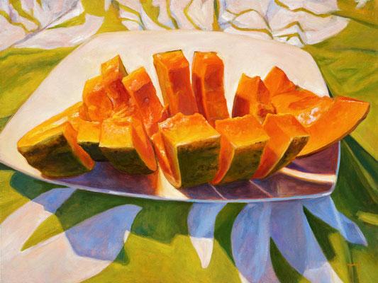 N°308 Tranches de papaye 60x80 Huile sur toile
