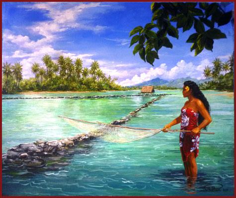 N°1 Pêche à Huahine 46x55 Huile sur carton