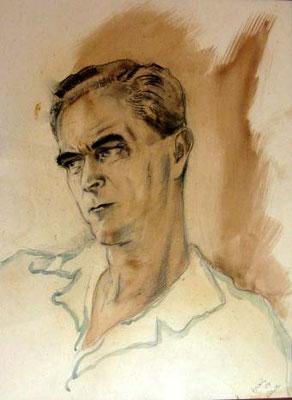 Grès Portrait 58x43 Aquarelle et fusain 1954 VSO