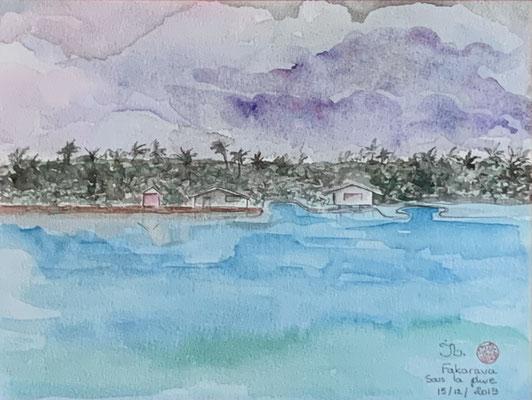 N°18 Fakarava sous la pluie 23x30,5 Aquarelle