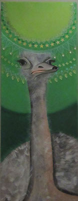N°34 L'autruche Augusta 80x30 Mixte sur toile